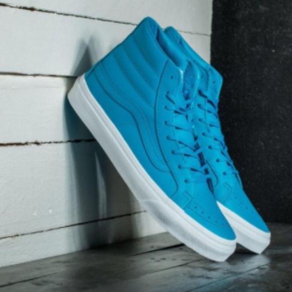 e89570fa9d2549 NWT Vans Sk8-Hi Slim Neon Blue Sneakers W 8.5